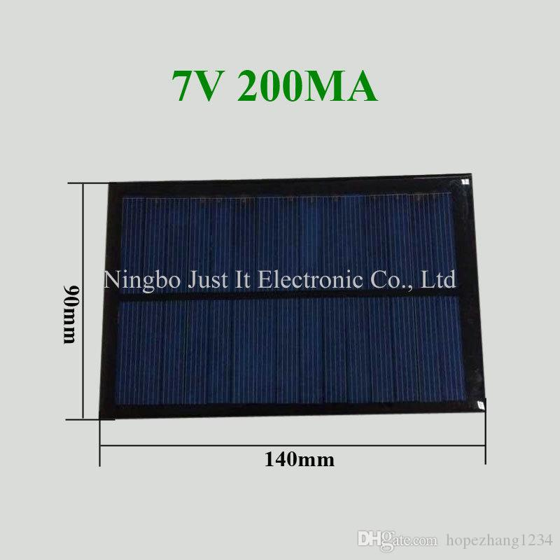 30pcs/lot Epoxy Resin Small Size Solar Panel 7V 200mA 140*90mm