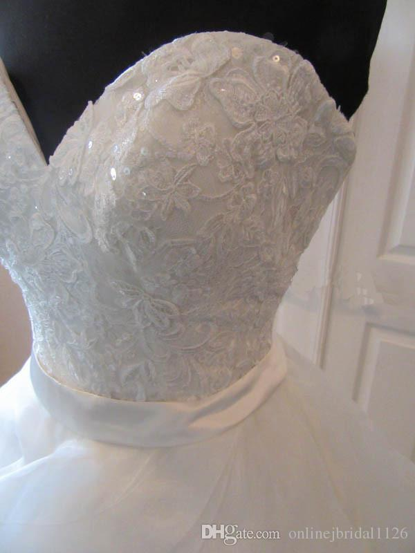 Floral Lace Bodice Sweetheart Satin Band A Line Organza Tiered Skirt Custom Made Bridal Bride Wedding Dress Gown COR-1087