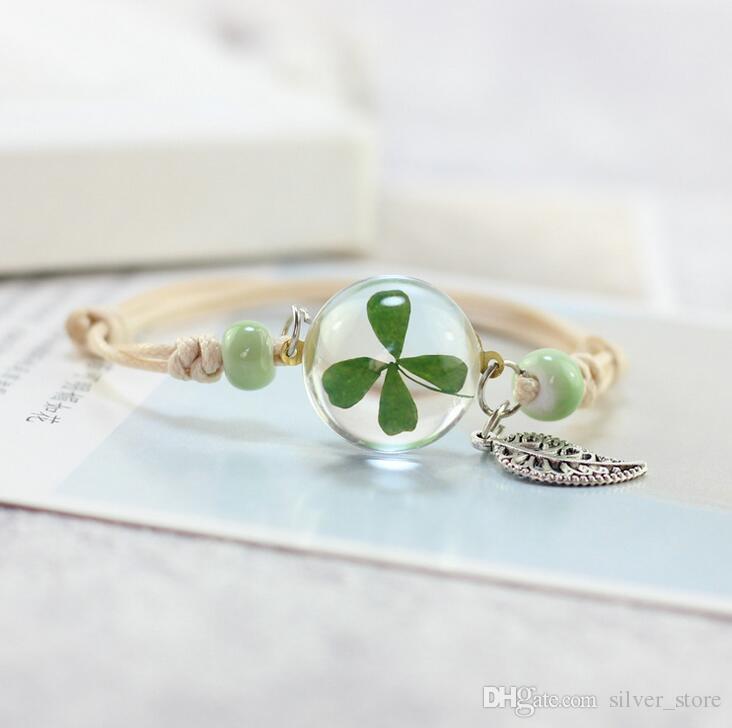 flowers plant specimens bracelet glass ball dandelion gown girlfriend girlfriend gift SSB107 a Charm Bracelets