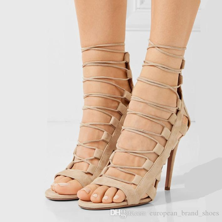 5b50a9b4373 100% Handmade Shoes Women S High Heels Shoes Fashion Cross Strap Sandal  Nightclub Shoes Woman Open Toed Gladiator Sandals Wedge Boots Comfortable  Shoes From ...