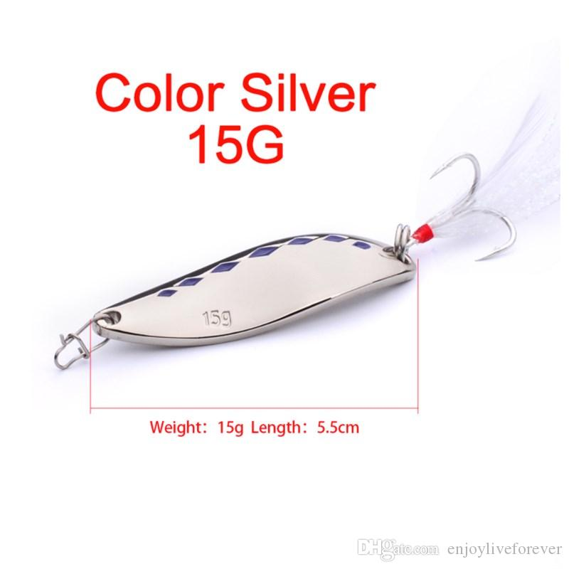 10G 15G 20G Spoon Fishing Lure Sets Gold Silver 5.5cm Metal Sequins Fishing Baits Spinner Hard Lure with 6# Hook