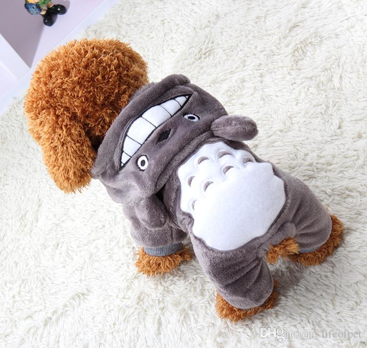 Macio Quente Roupa Do Cão Casaco Pet Costume Roupas de Lã Para Cães Filhote de Cachorro Dos Desenhos Animados de Inverno Casaco Com Capuz Outono Vestuário XS-XXL