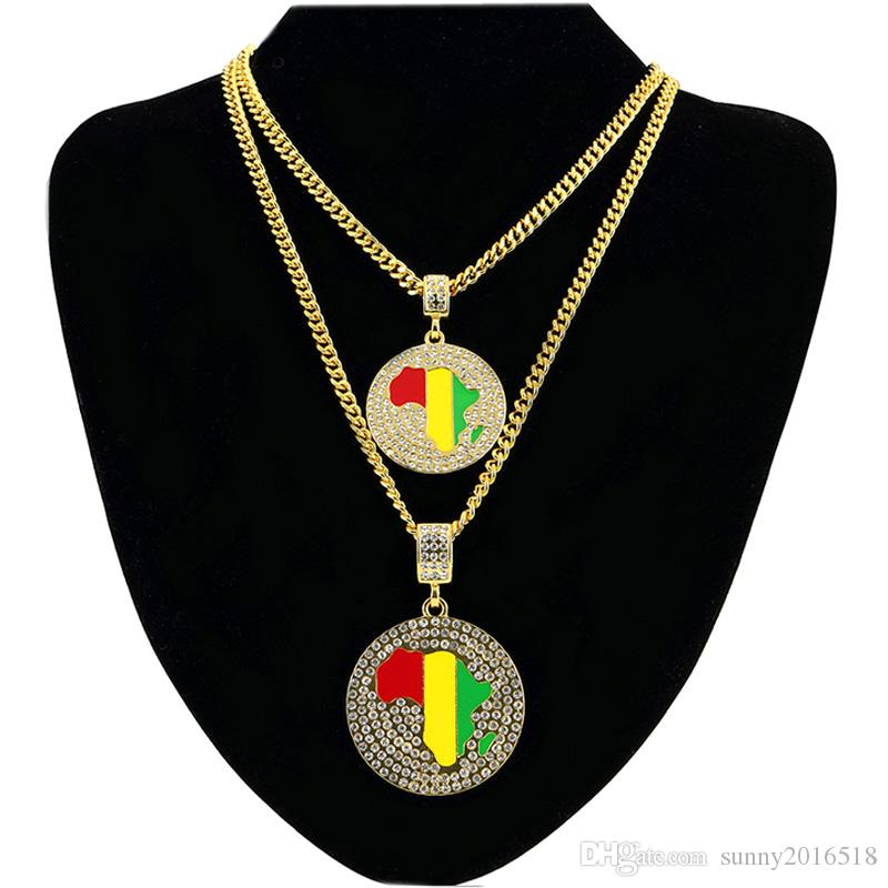 Модные цветные Африканская карта ожерелье Кристалл горный хрусталь круглый кулон 18K позолоченный цепь длинные ожерелья партии ювелирных изделий