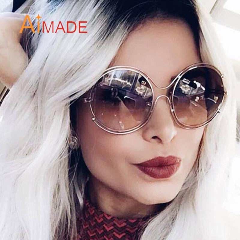 Fashion Luxury Celebrity Designer Brand Sunglasses Wholesale Glasses Women Metal Sun Big Aimade Frame Oversized Round Eyewear Hollow kuPOXZiT
