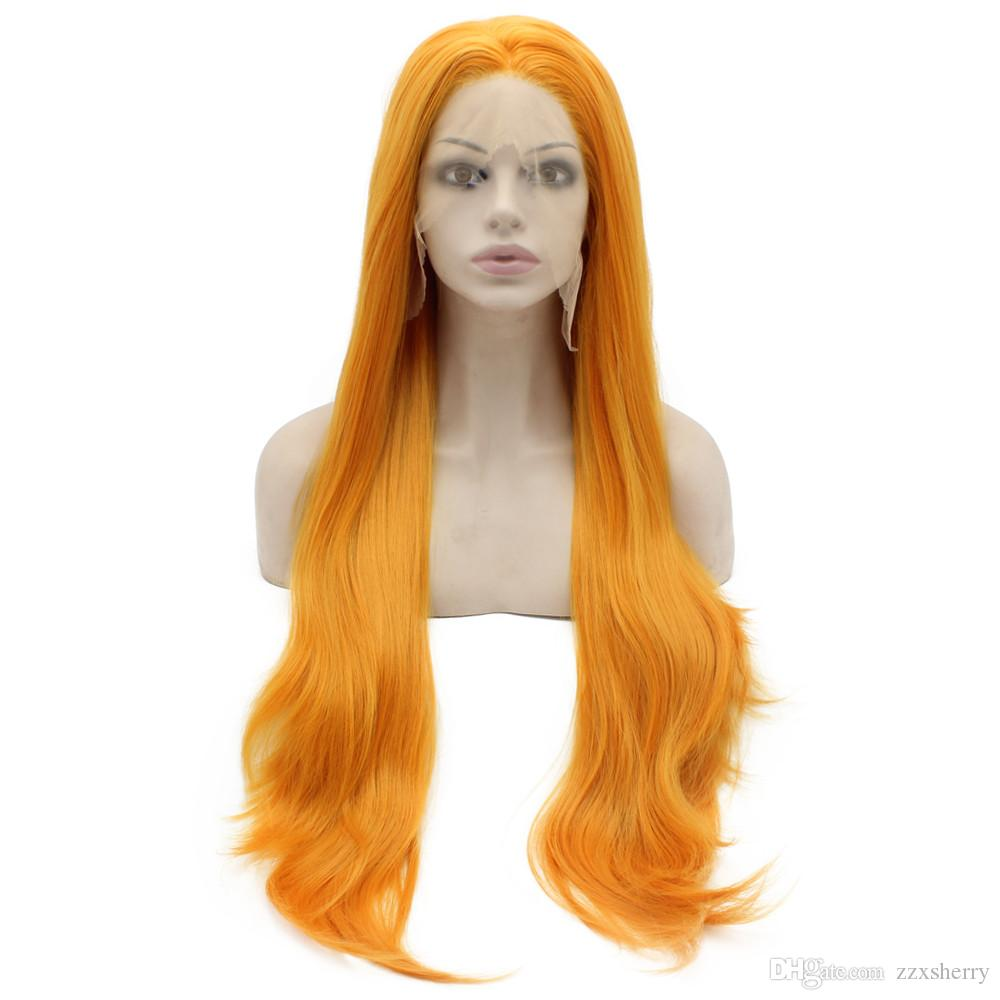 Long Straight Heat Safe Fiber Hair Lace Front Orange Cosplay Party Wig