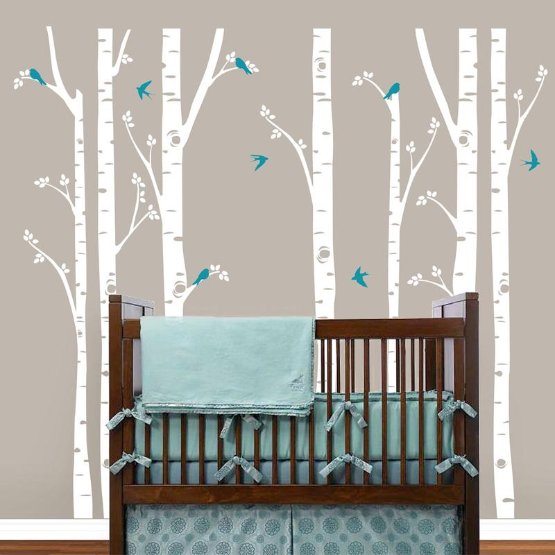Modern Wall Sticker Birch Tree Birds Vinyl Wall Art Decals - Vinyl wall decals birch tree