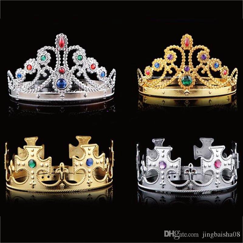 Cosplay King Crown Queen crown Plastic Gold Silver Diamond Halloween Prop trajes de fiesta de la mascarada Novedad regalo del banquete de boda envío gratis