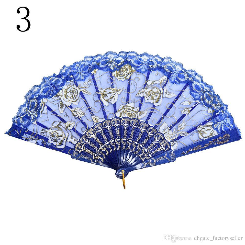 DHL Spanish style rose flower design plastic frame lace silk hand fan, Chinese craft folding fan