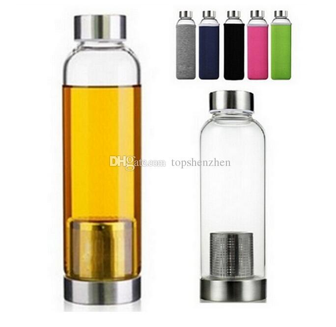 Botella de agua de vidrio de 22 oz BPA libre Vidrio resistente al agua de alta temperatura Botella de agua con filtro de té Infusor Botella Funda de nylon