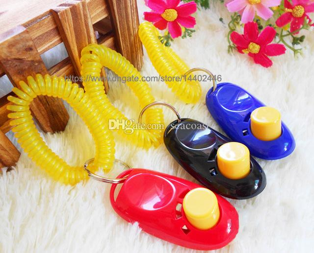 Pet Dog Cat Click Clicker Pets Train Training Agility Obedience Trainer Aid Wrist Strap New