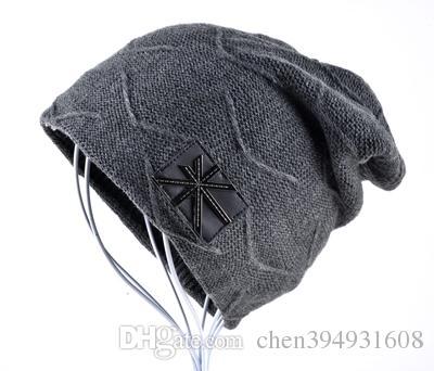 6a97d4a5ebfc7 2019 Man Hat Men Skullies Winter Hats For Women Beanies Solid Color Gorros Hip  Hop Cap Knitted Wool Plus Velvet Bonnet Turban Caps From Chen394931608