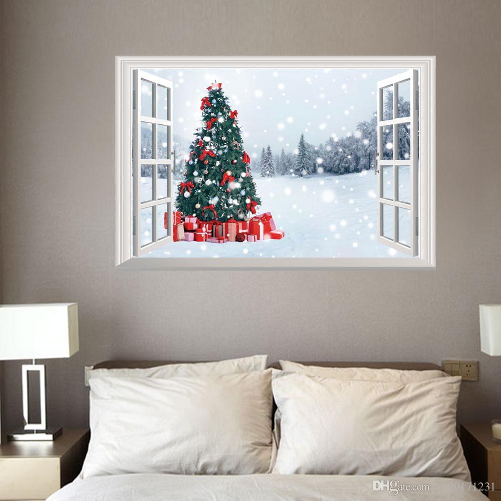 3d Wall Sticker Fake Window New Christmas Wall Sticker Christmas