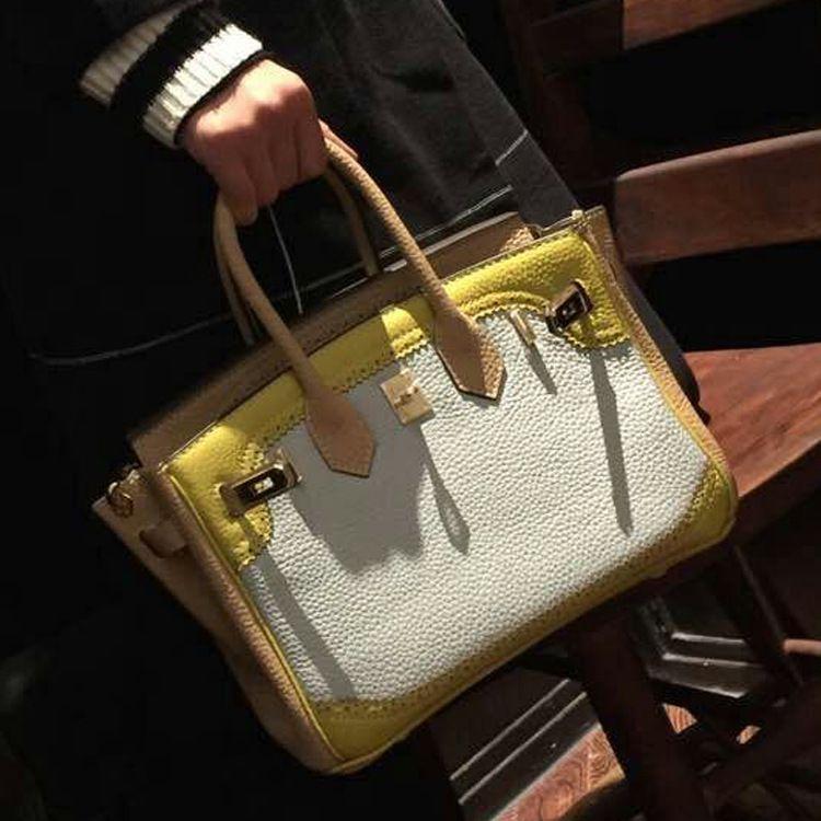 Handbag Genuine Leather Women\`s Litchi Cowhide Messenger Bag Famous Designer Shoulder Crossbody Tote 2016 Luxury Ladies Bolsa 9