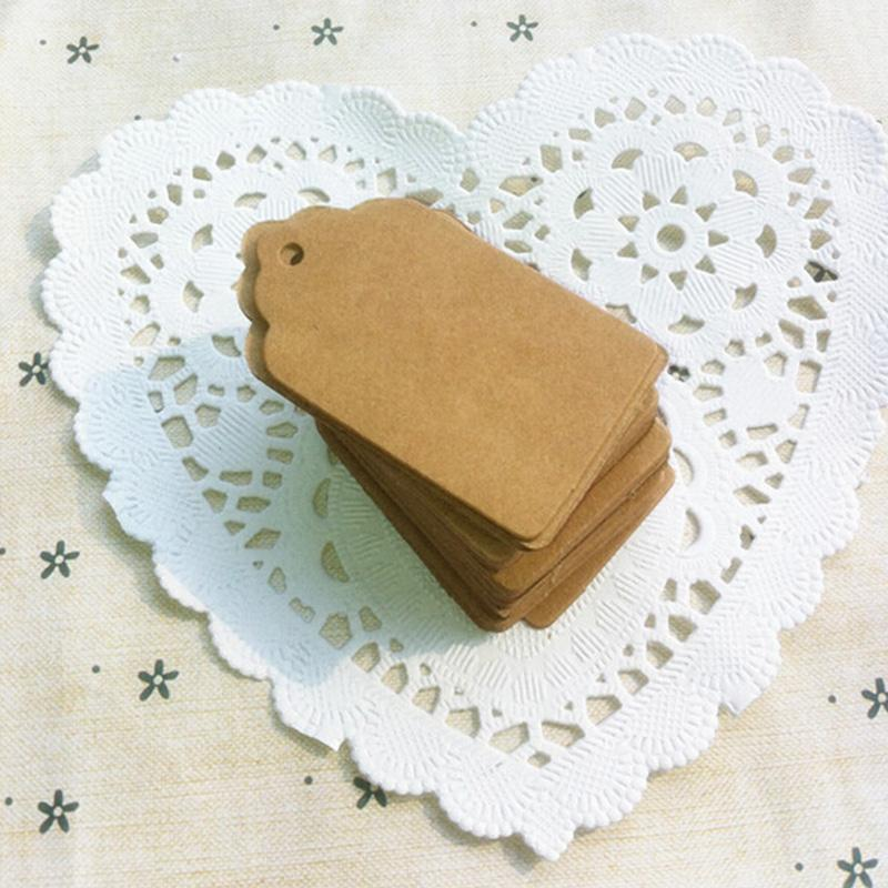 Wholesale-100Pcs DIY Kraft Paper Tags Brown Lace Scallop Head Label Luggage Wedding Note Blank price Hang tag Kraft Gift 5x3cm
