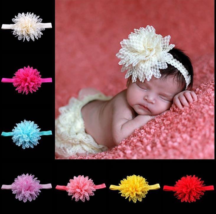 Europe Mode 14 Couleurs bébé tête Bands dentelle fleurs bébé Bandeau enfants élastique Couvre-chef enfants Accessoires cheveux