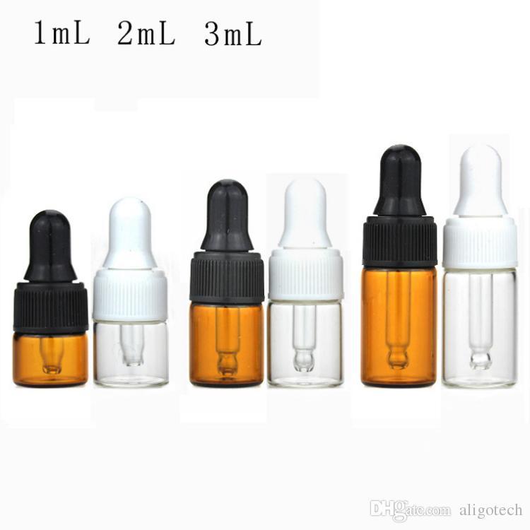 Vuoto Mini bottiglie di olio essenziale 1ml 2ml 3ml Bottiglie di contagocce in vetro trasparente ambra con tappo di vetro bianco nero Tappo di goccia, piccolo campione di vetro