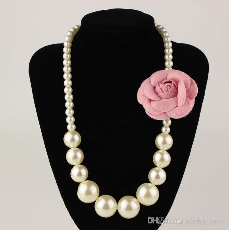 Mädchen Perlen Halskette 3D Blume Brosche Prinzessin Schmuck Princess Dress Zubehör Kinder Schmuck Kinder Geschenke C1362