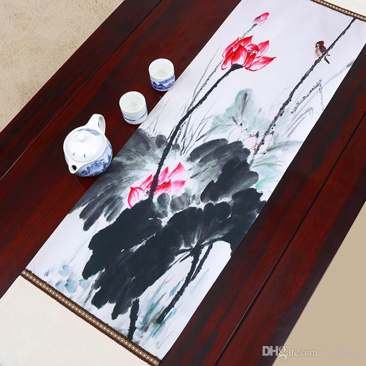 Extra Long 120 Inch Elegant Lotus Table Runner Luxury Mats High Quality Chinese Style Silk Brocade Dining Room Cloth 300x33 Cm Round
