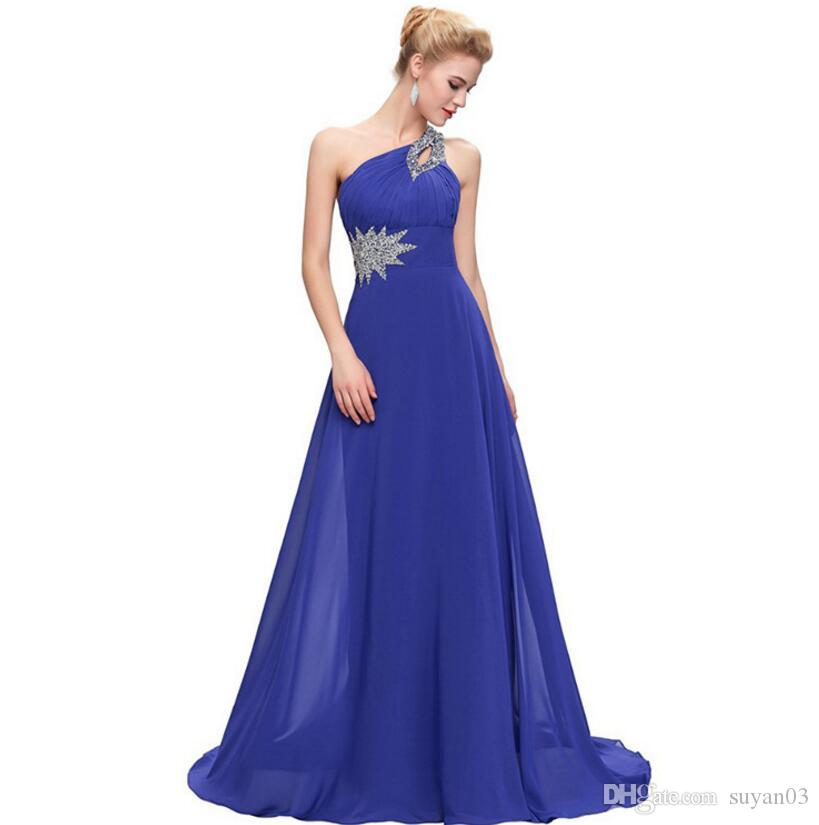 One Shoulder Long Evening Dress Chiffon Formal Vestidos Blue Purple ...