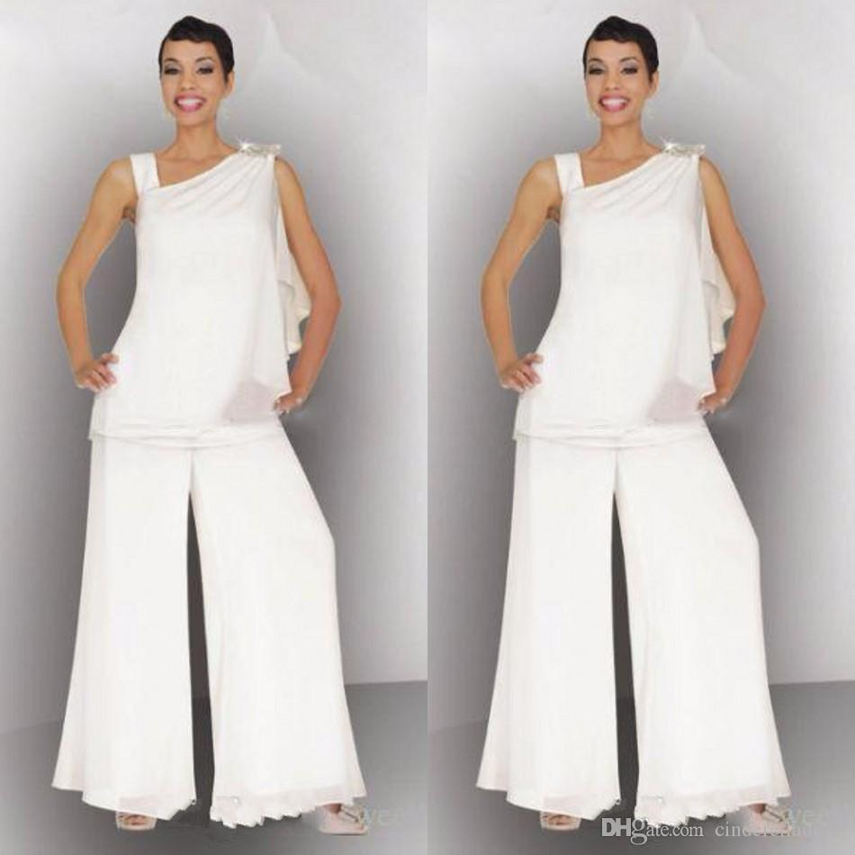 Elegant Mother Of The Bride Groom Pant Suit Ruched Crystal Plus Size ...