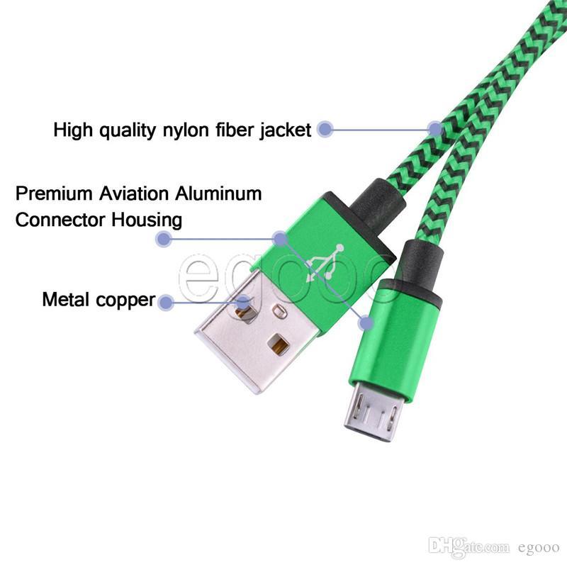 1М 3FT 2М 6FT 3M 10 FT Металл Медно Micro USB зарядное устройство синхронизации данных тканый Плетеный шнур синхронизации данных зарядный кабель для Android Samsung Smart телефон