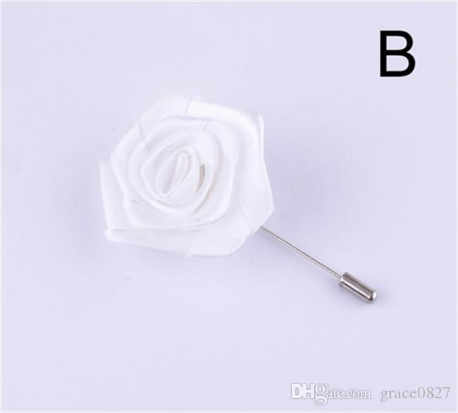 New in Lapel Flower Man Woman Camellia Handmade Boutonniere Stick Brooch Pin Men's Accessories in