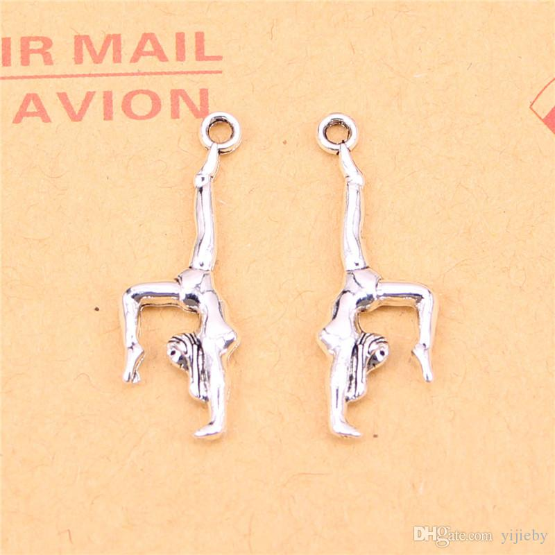113pcs Tibetan Silver Plated gymnastics gymnast sporter Charms Pendants for Jewelry Making DIY Handmade Craft 30*11mm