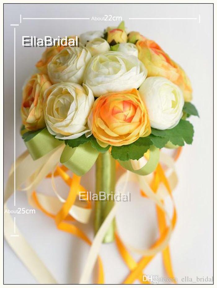 Crema marfil venta caliente té de naranja ramo de novia ramo de flores de la boda de novia ramo de dama de honor decoración de la boda ramo de flores de la boda con la cinta