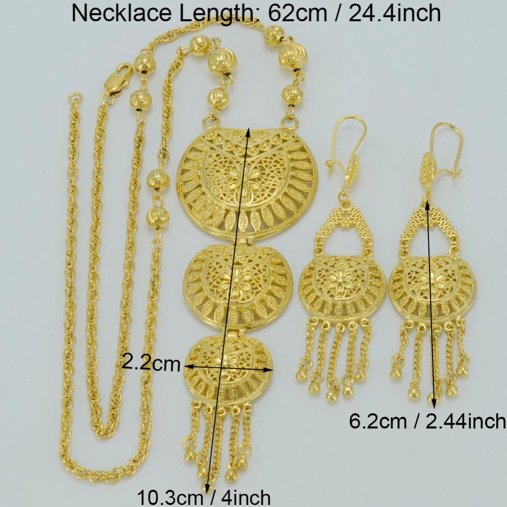 Jewelry Sets Anniyo 62CM Necklace Earrings Dubai Jewelry Sets Gold