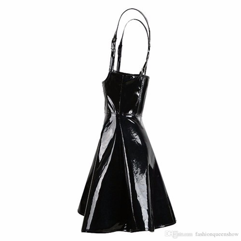 Women Shiny PVC Mini Dress Underbust Pleated Clubwear Sling Dress Sleeveless Full Zipper Costume Size S-XXL