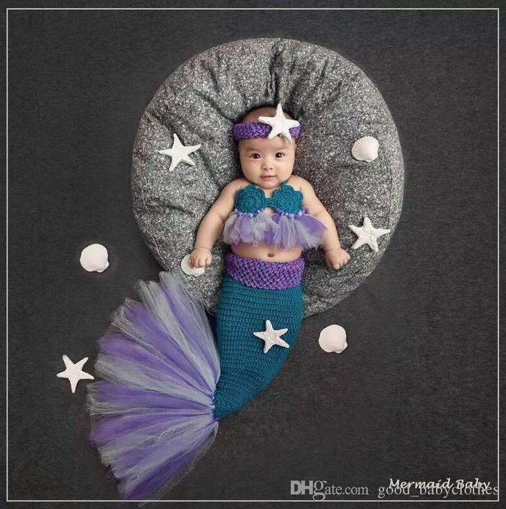 Lace Mermaid Newborn Baby Photo Photography Props Infant Handmade Outfits Crochet Knit Cocoon Set Knitted baby Costume