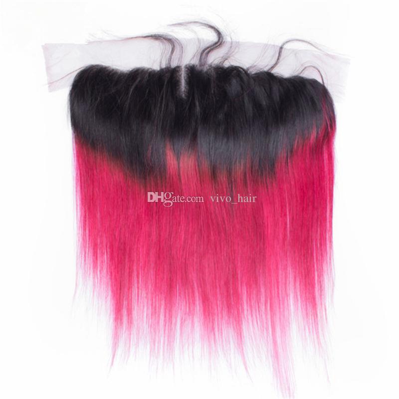 Fasci di capelli vergini peruviani 1B Ombre rosa con chiusura frontale in pizzo Ombre Tagli di capelli diritti umani rosa con 13 * 4 frontale in pizzo