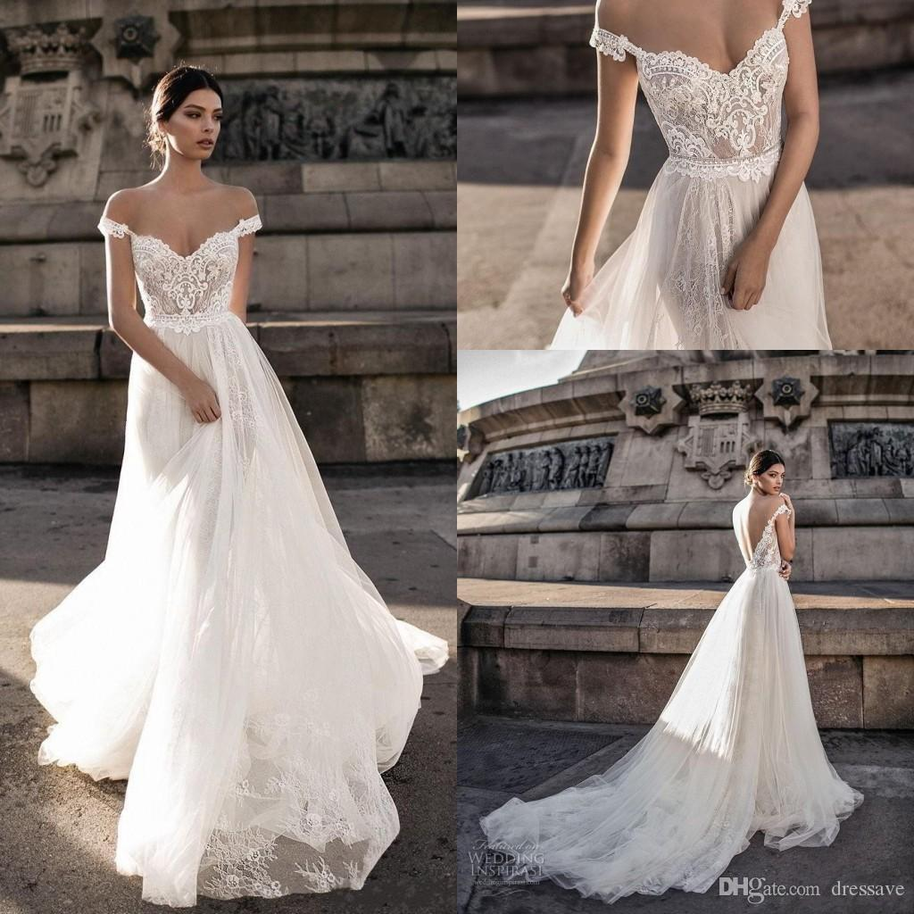 87f7fe6fa54d Discount 2018 New Sheer Bohemian Off Shoulder Wedding Dresses Lace Applique  Romantic Tulle Court Train Backless Bridal Gowns Custom Made Wedding  Collection ...