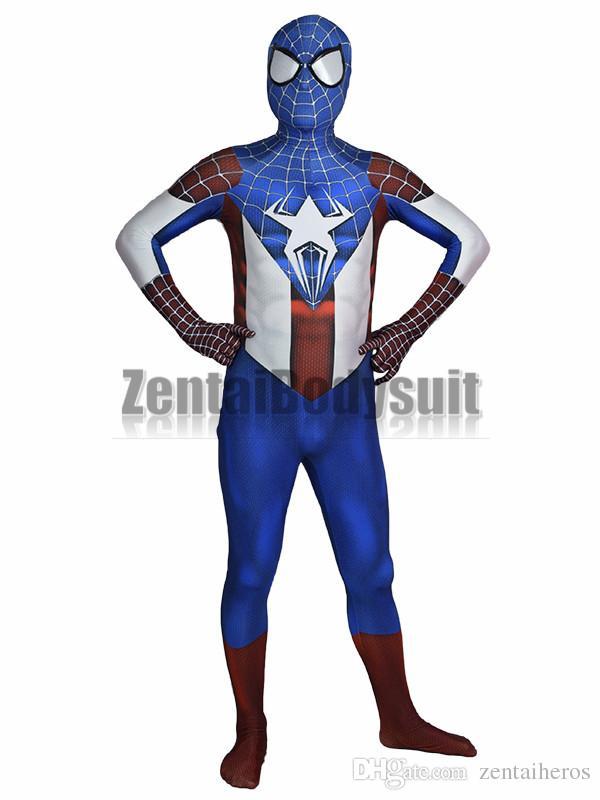 Captain America Spider-man costume Bodysuits movie Captain America Zentai Halloween Party Costume