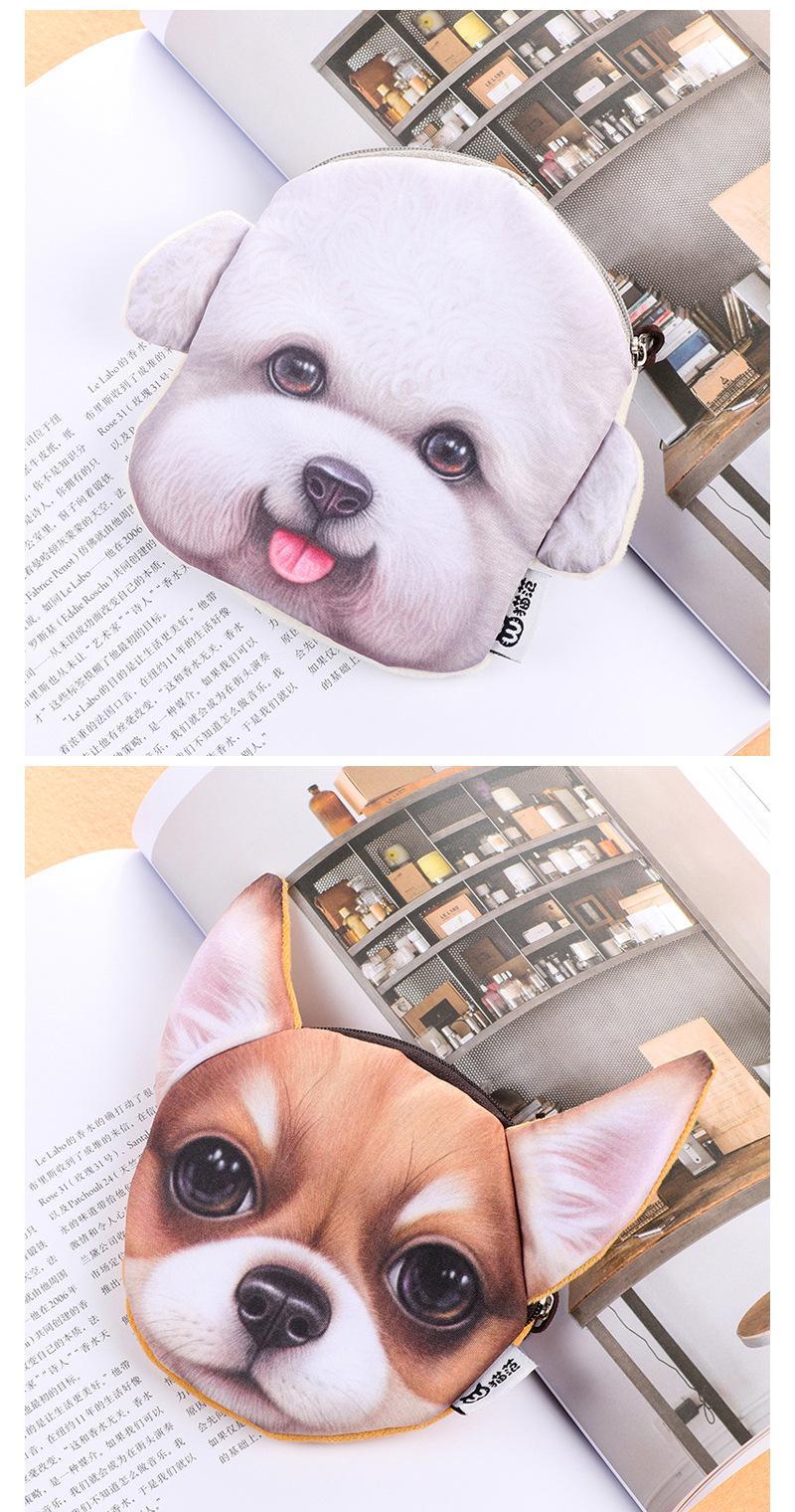 Moda Criança Animal Coin Bolsas Titulares 3D Cão Bolsa Para Moedas Mulheres Bolsa De Moeda Crianças Bolsa Com Zíper Bonito Pequeno Titular Carteira Meninas bolsa
