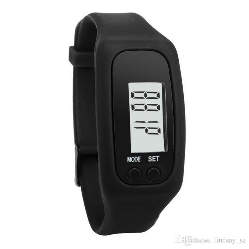 الرقمية LCD مقياس الخطو LED الرياضة ووتش تشغيل الخطوة يمشي مسافة عداد السعرات الحرارية المعصم ووتش سوار الشحن السريع