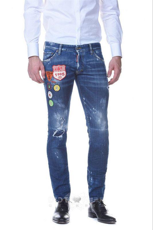 2018 nuovo arrivo di buona qualità famoso marchio fashion design jeans strappato lavato blu lungo elastico dritto jeans uomo vendita calda 1722