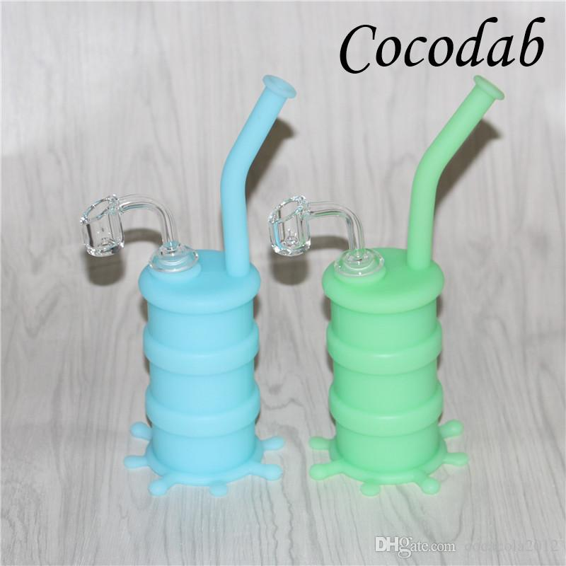 Rigs di olio di silicone Rigs mini in silicone Tubi di bong di acqua VS Tubi di acqua di vetro Con 4mm 14mm chiodi al quarzo e vetro downstem