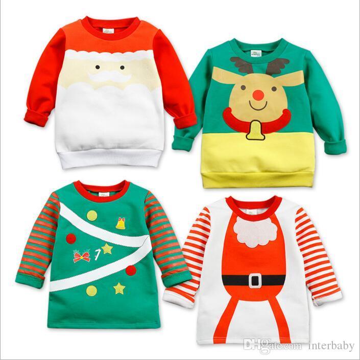 Online Cheap Kids Clothing Christmas T Shirts Baby Santa Claus Tops ...