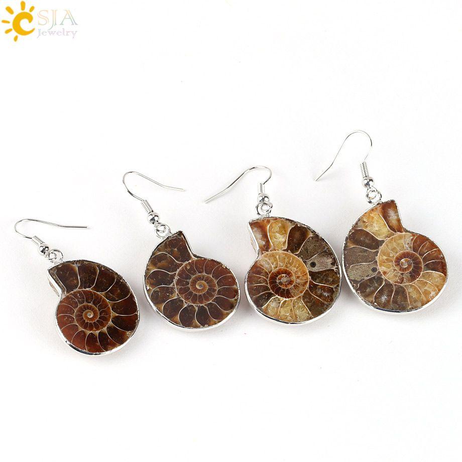 CSJA Women Gift Natural Snail Ammonite Spiral Whorl Conch Shell Fossils Platinum Copper Animal Pendant Dangle Hook Earring E105