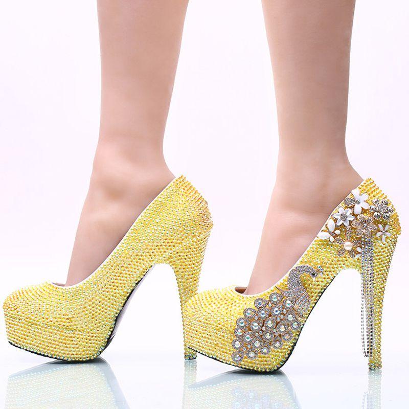Lemon Yellow Rhinestone Wedding Party Shoes Handmade