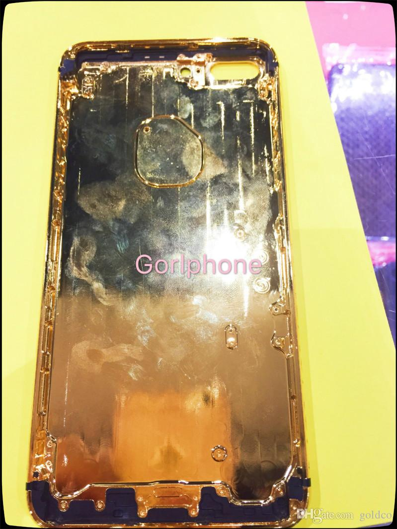 real leather real gold Dubai Plating Back Housing Cover Skin Battery Door For iPhone 7 7+ Luxury Limited Edition 24Kt Golden for iphone7