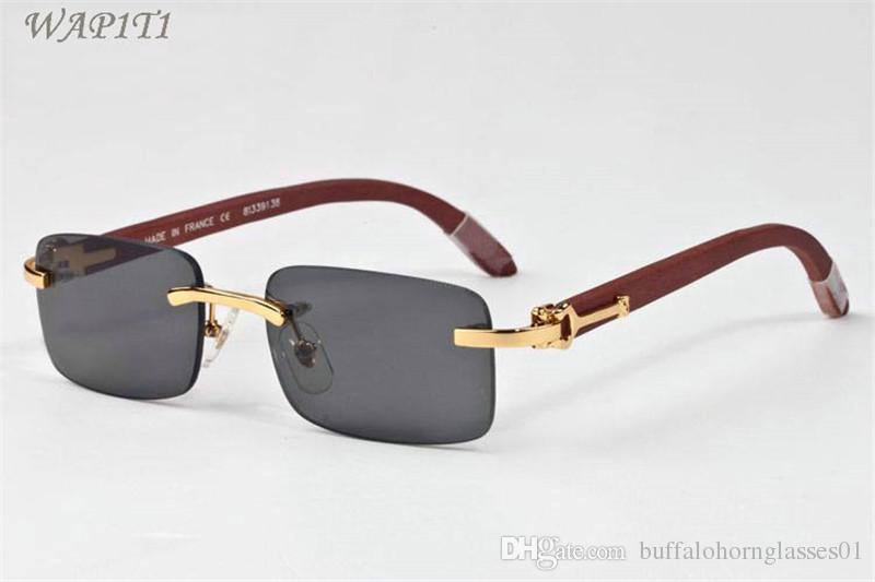 Holz Sonnenbrille für Männer Weiß Holz Buffalo Horn Brille Frauen Marke Designer Sonnenbrillen Bambus randlose Sonnenbrille kommen mit Boxen