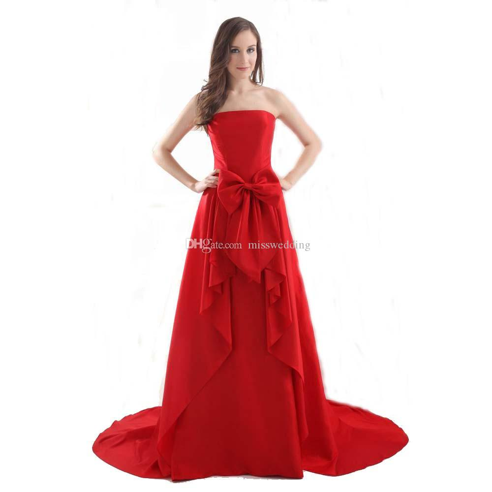 fedfc2b3f56 Formal Red Dress Evening Prom With Bow Sweep Train Competitive Price ...
