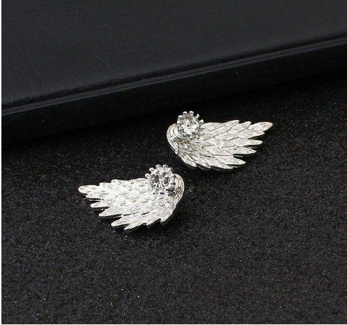 Fashion Womens Earrings Ear Jacket Stud Angle Wings Earrings for Women and Girls Bird Wings Earrings Jewelry Silver