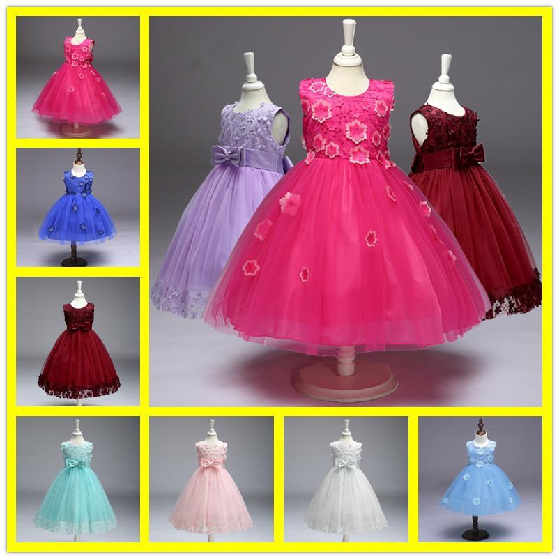 Compre Elegante Princesa Tulle Vestidos De Niña De Flores Niños Vestido De  Marfil Rojo Con Gran Lazo Para La Fiesta De Bodas De Niña Vestido De Bebé  ... a78e0838e56c