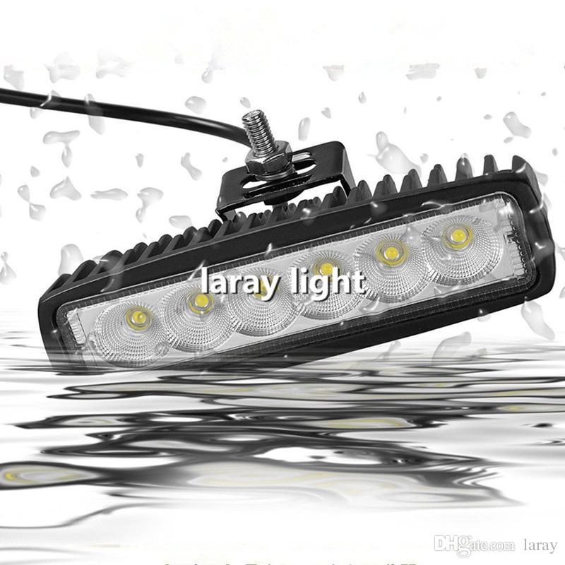 18W Flood Beam LED Lumière de Travail ATV Off Route Lumière Lampe Brouillard Conduite Barre de Lumière Pour 4x4 Offroad SUV Voiture Camion Remorque Tracteur UTV Véhicule