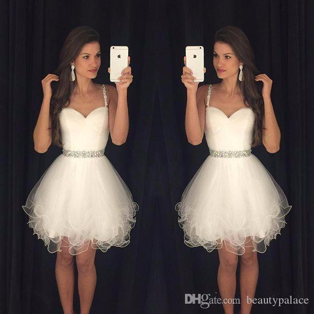 Hot Sale A Line Sweetheart Prom Dresses Puffy Short White Spaghetti Straps Beaded Crystals Ruffles Graduation Party Dress Cheap