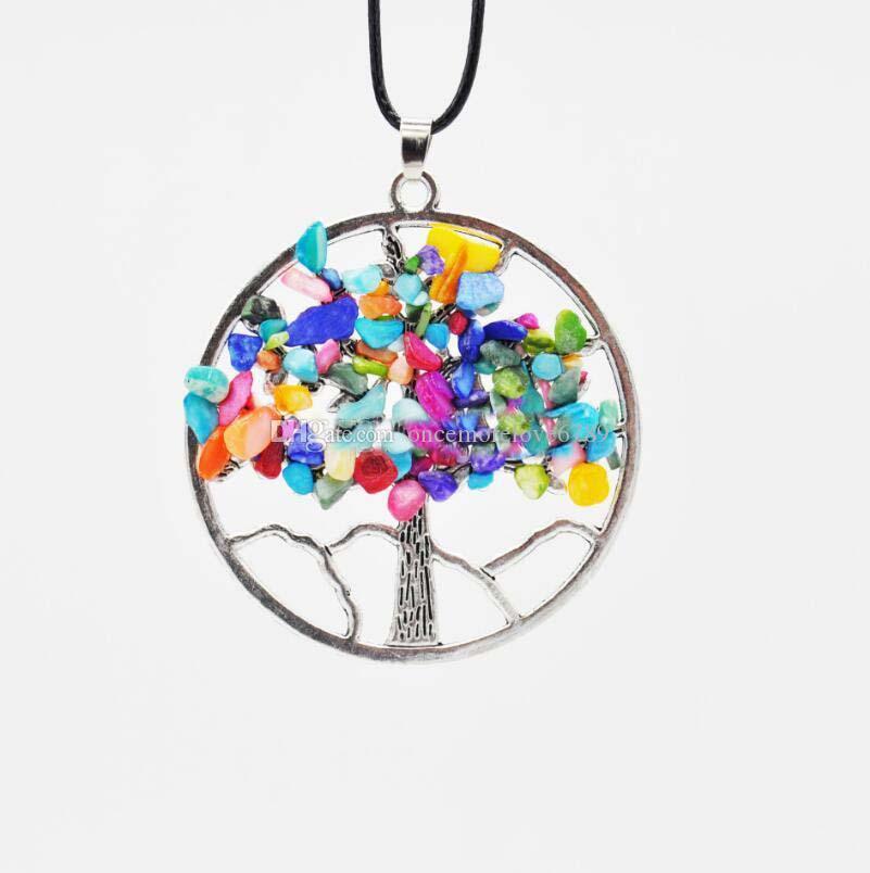 النساء قوس قزح 7 شقرا الجمشت شجرة الحياة الكوارتز رقائق قلادة متعددة الألوان والحكمة شجرة الطبيعية قلادة ستون