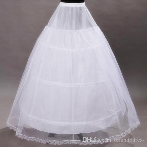 2017 Brand New Petticoats Weiß 3-Band-Knochen-Voll Underskirt für die Braut formalen Kleid Stock Hochzeit Zubehör Ballkleid Rock Krinoline